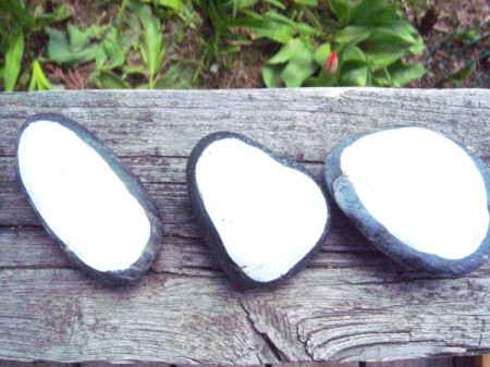 Memorable Party Favors - three painted stones from the back