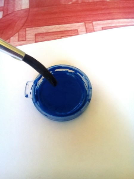 Blow Painting - wet brush and then dip into desired color
