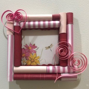 Picture Frame Magnet - finished frame with a print of flowers and a dragonfly inside