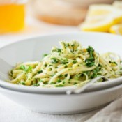 Linguine and herb in a bowl