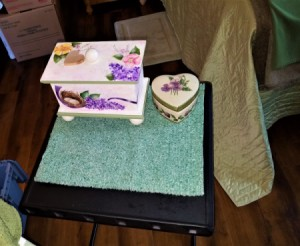 Making a Custom Table Scarf from a Placemat - new mat on table with decorative box and heart shaped box on it