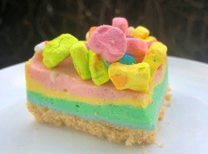 piece of Lucky Charms No-Bake Cheesecake