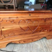 Value of a Murphy Cedar Chest - cedar chest with two hearts and other carved design on the front