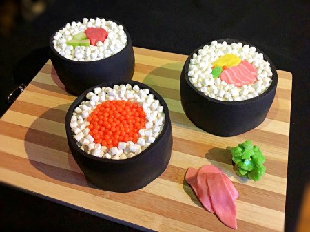 How to Make Sushi Cakes - serving tray with sushi cakes and condiments