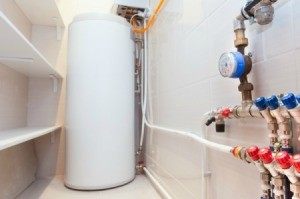 Water heater tank in a closet.