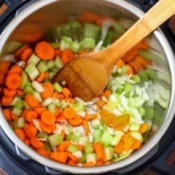 Vegetables in an Instapot pressure cooker.