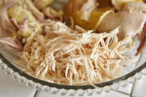 Shredded Chicken with chicken breasts on a glass plate