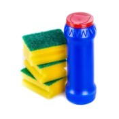 Powdered Cleanser bottle with a stack of sponges.