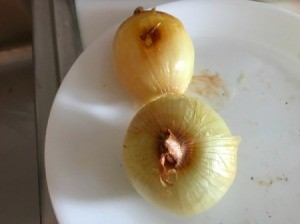 Baked Onions on plate