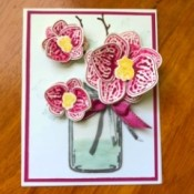3D Orchid in a Jar Card - finished orchid card