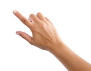 Hand with index finger and thumb extended.
