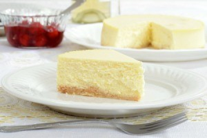 Slice of Cheesecake on a white dish
