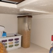 A container of boxed macaroni and cheese ingredients in the pantry.
