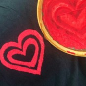 DIY Screen Printing - dual heart design on black shirt