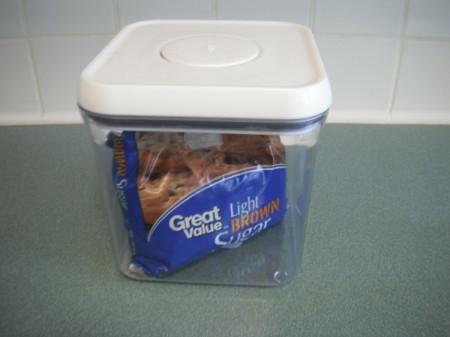 Brown sugar stored inside an airtight container.
