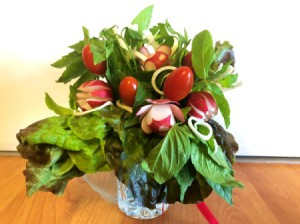 Fresh Herb and Veggie Bouquet - finished edible bouquet