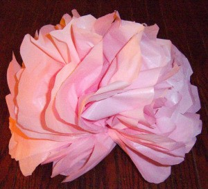Make Big Showy Flowers from Plastic Tablecloths - pink flower
