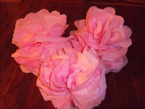Make Big Showy Flowers from Plastic Tablecloths