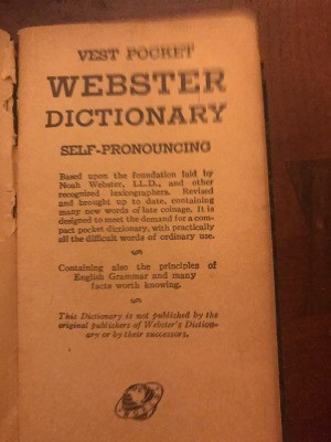 A vest pocket Webster dictionary