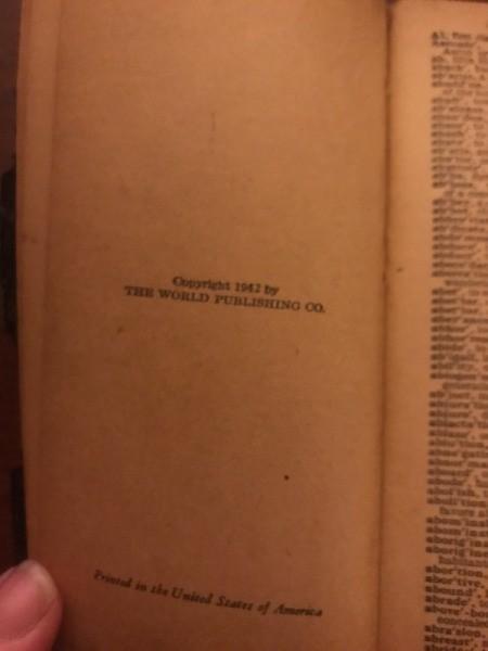 Value of an Old Webster Pocket Dictionary
