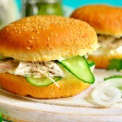 Hot Chicken Sandwich with sliced cucumber and onion
