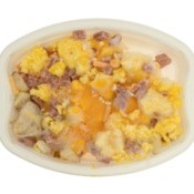 Prepared meal frozen in a plastic container