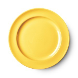 Yellow ceramic plate.