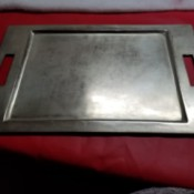Identifying a Metal Tray - metal tray with recessed center and two handles