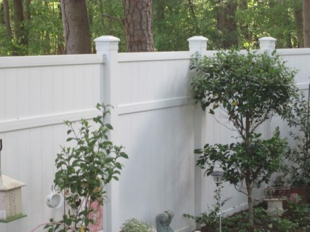 White fixtures on top of white fence posts.