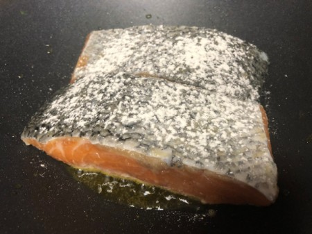 salmon in pan