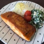 Salmon on dinner plate