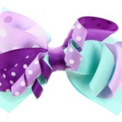 Purple and blue hair bow.