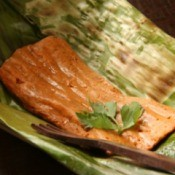 Fish cooked in banana leaf