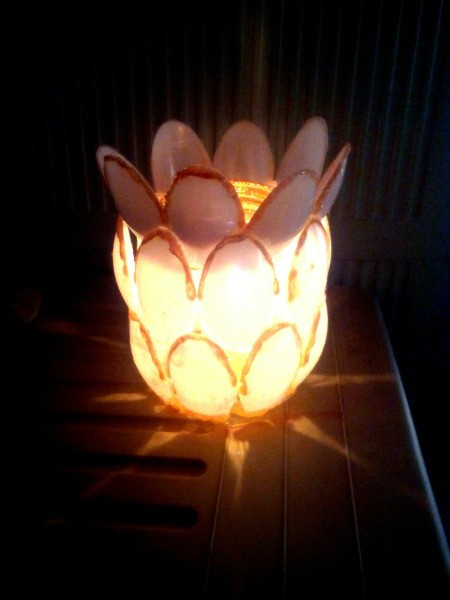 Recycled Candle Night Lamp - lighted jar jar