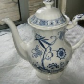 Value of English Staffordshire Serving Pieces - tea or coffee pot in blue and white pattern