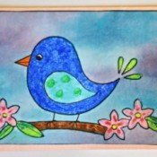 Naïve Spring Bird Greeting Card - finished card with the bird painting affixed to the card