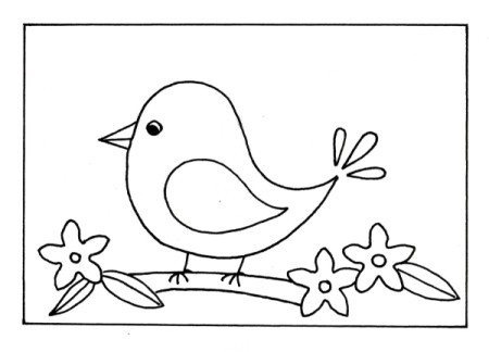 Naïve Spring Bird Greeting Card - bird template