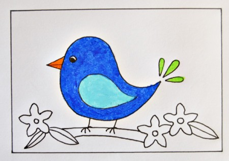 Naïve Spring Bird Greeting Card - color bird with oil pastels