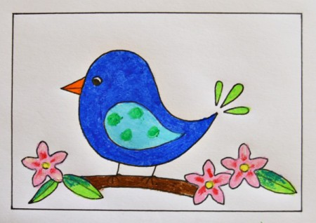 Naïve Spring Bird Greeting Card - color branch, flowers, and leaves