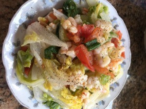 Stir Fry Vegetables with Shrimp on plate