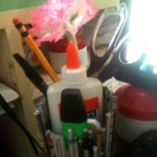 Newspaper Pen Organizer - pens, pencils, glue, and marker in organizer