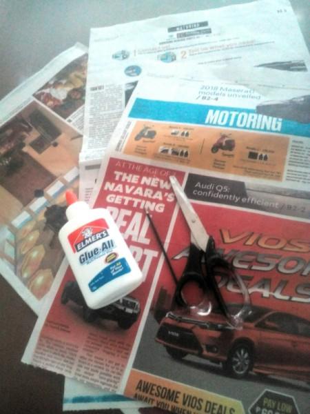Newspaper Pen Organizer - supplies