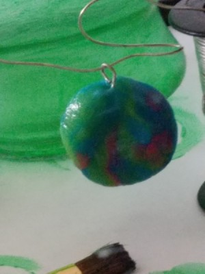 Using Mod Podge on Play-Doh - green Play Doh pendant