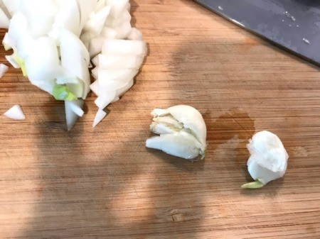 chopping onions and garlic