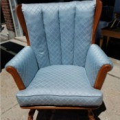 Information on Heywood-Wakefield Chair - blue upholstered armchair