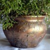 Upcycled Clay Pot Planter - finished pot with plant inside