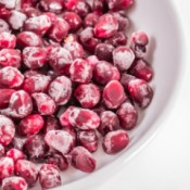 Bowl of frozen pomegranate.