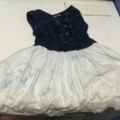Removing Colour Transfer on Multicoloured Clothing - dress with blue bodice and white skirt with blue stains