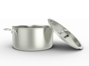 Aluminum pot on white background.
