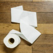 Toilet paper on a wood floor.